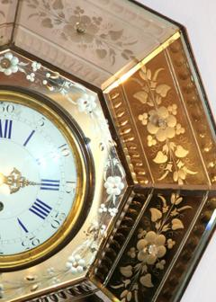 French Etched Mirrored Clock - 175914