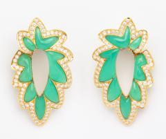 French Green Chalcedony Diamond Earrings - 1367852