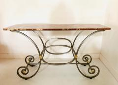 French Iron and Marble Top Console - 1148827