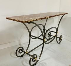 French Iron and Marble Top Console - 1148828
