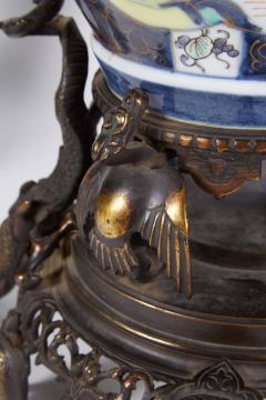 French Japonisme Parcel Gilt Patinated Bronze Imari Porcelain Clock Garniture - 1160152