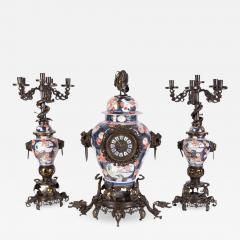 French Japonisme Parcel Gilt Patinated Bronze Imari Porcelain Clock Garniture - 1161906