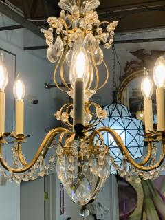 French Louis XV Style Brass and Crystal Chandelier - 1662583