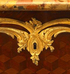 French Louis XV Style Inlaid Parquetry Commode - 741197
