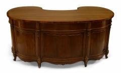 French Louis XV Walnut Kidney Kneehole Desk - 1429372