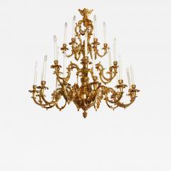 French Louis XVI Style 24 Light Bronze Chandelier - 1707111