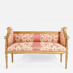 French Louis XVI Style Giltwood Frame Settee - 1126327