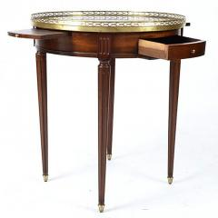 French Louis XVI Style Mahogany Marble Top Bouillotte Table - 169668