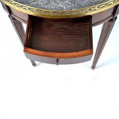 French Louis XVI Style Mahogany Marble Top Bouillotte Table - 169672