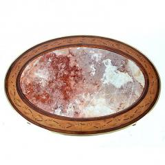 French Louis XVI Style Oval Marble Top Inlaid Coffee Table with Ormolu Mounts - 169659
