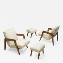 French Lounge Chairs with Footstools France 1940s - 2072208