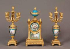 French Mantel Clock and Candelabra of Gilt Bronze and Blue Se vres Porcelain - 627822