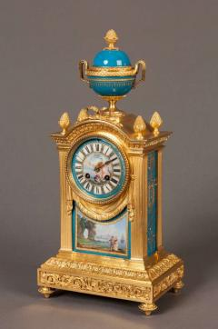 French Mantel Clock and Candelabra of Gilt Bronze and Blue Se vres Porcelain - 627823