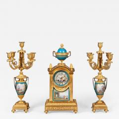 French Mantel Clock and Candelabra of Gilt Bronze and Blue Se vres Porcelain - 629385