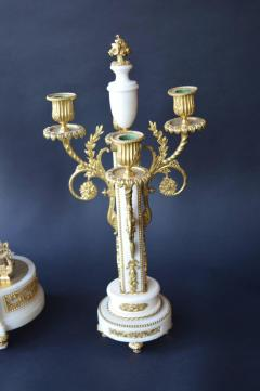 French Marble and Gilded Bronze Clock Set - 192777