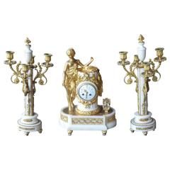 French Marble and Gilded Bronze Clock Set - 192781