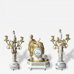 French Marble and Gilded Bronze Clock Set - 209471