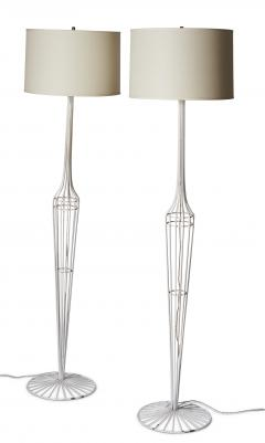 French Metal Floor Lamp Duo in the style of Jean Roy re - 1616712
