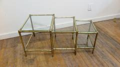 French Mid Century Brass Nesting Tables - 1854516