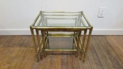 French Mid Century Brass Nesting Tables - 1854528