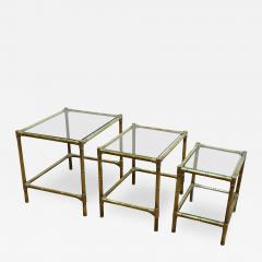 French Mid Century Brass Nesting Tables - 1855899