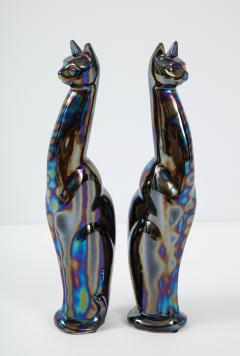 French Mid Century Iridescent Glazed Cat Figures - 1576118