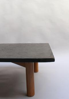 French Midcentury Slate And Oak Coffee Table - Mid century oak coffee table
