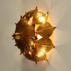 French Mid century gold leaf wall light - 1964488