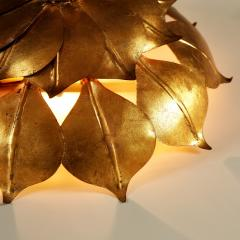 French Mid century gold leaf wall light - 1964504