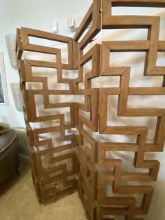 French Modern Cerused Oak 4 Panel Folding Screen Divider - 1880030