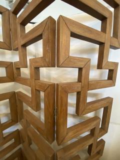 French Modern Cerused Oak 4 Panel Folding Screen Divider - 1880034