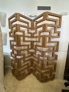 French Modern Cerused Oak 4 Panel Folding Screen Divider - 1880036