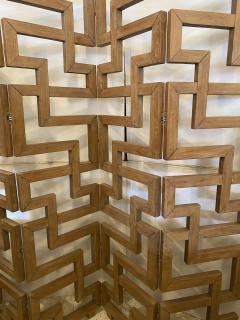 French Modern Cerused Oak 4 Panel Folding Screen Divider - 1880037