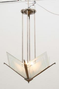 French Modernist Art Deco Pendant Light c 1930 - 1744455
