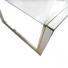 French Modernist Glass Brass Chrome Coffee Table - 1640169