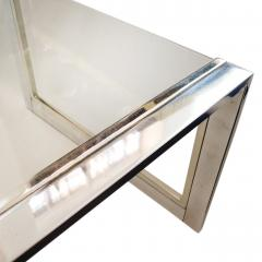 French Modernist Glass Brass Chrome Coffee Table - 1640170
