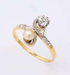 French Moi et Toi Natural Pearl and Diamond Ring - 1808569