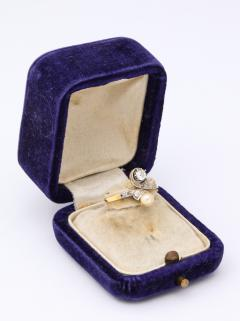 French Moi et Toi Natural Pearl and Diamond Ring - 1808571