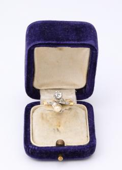 French Moi et Toi Natural Pearl and Diamond Ring - 1808572