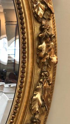French Napoleon III Giltwood and Composite Oval Mirror with Ribbon Crest - 1896243