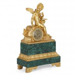 French Neoclassical malachite and gilt bronze mantel clock - 1913718