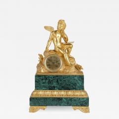French Neoclassical malachite and gilt bronze mantel clock - 1914536