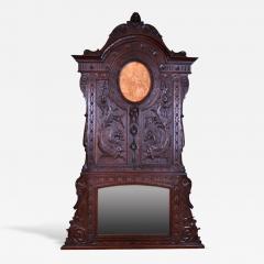 French Oak Over Mantel Mirror Renaissance Revival 19th C  - 150468
