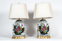 French Porcelain Late 20th Century Pair Lamps with Wood Base  - 1037542