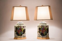 French Porcelain Late 20th Century Pair Lamps with Wood Base  - 1037546