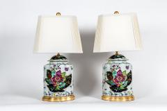 French Porcelain Late 20th Century Pair Lamps with Wood Base  - 1037565