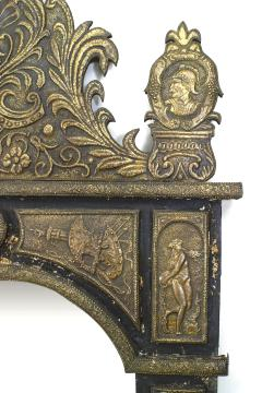 French Renaissance Style Brass Embossed Wall Mirror - 1399701