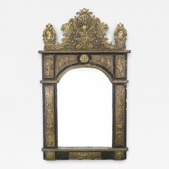 French Renaissance Style Brass Embossed Wall Mirror - 1403364