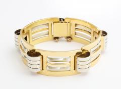 French Retro 18K White Yellow Gold Bracelet - 122510