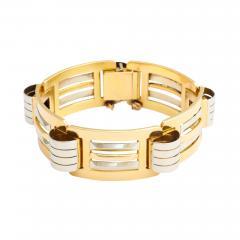 French Retro 18K White Yellow Gold Bracelet - 123119